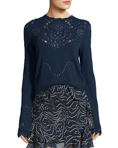 Pointelle Crewneck Cotton Sweater, Blue