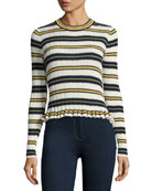 Striped Crew Neck Combo Sweater, Blue Pattern