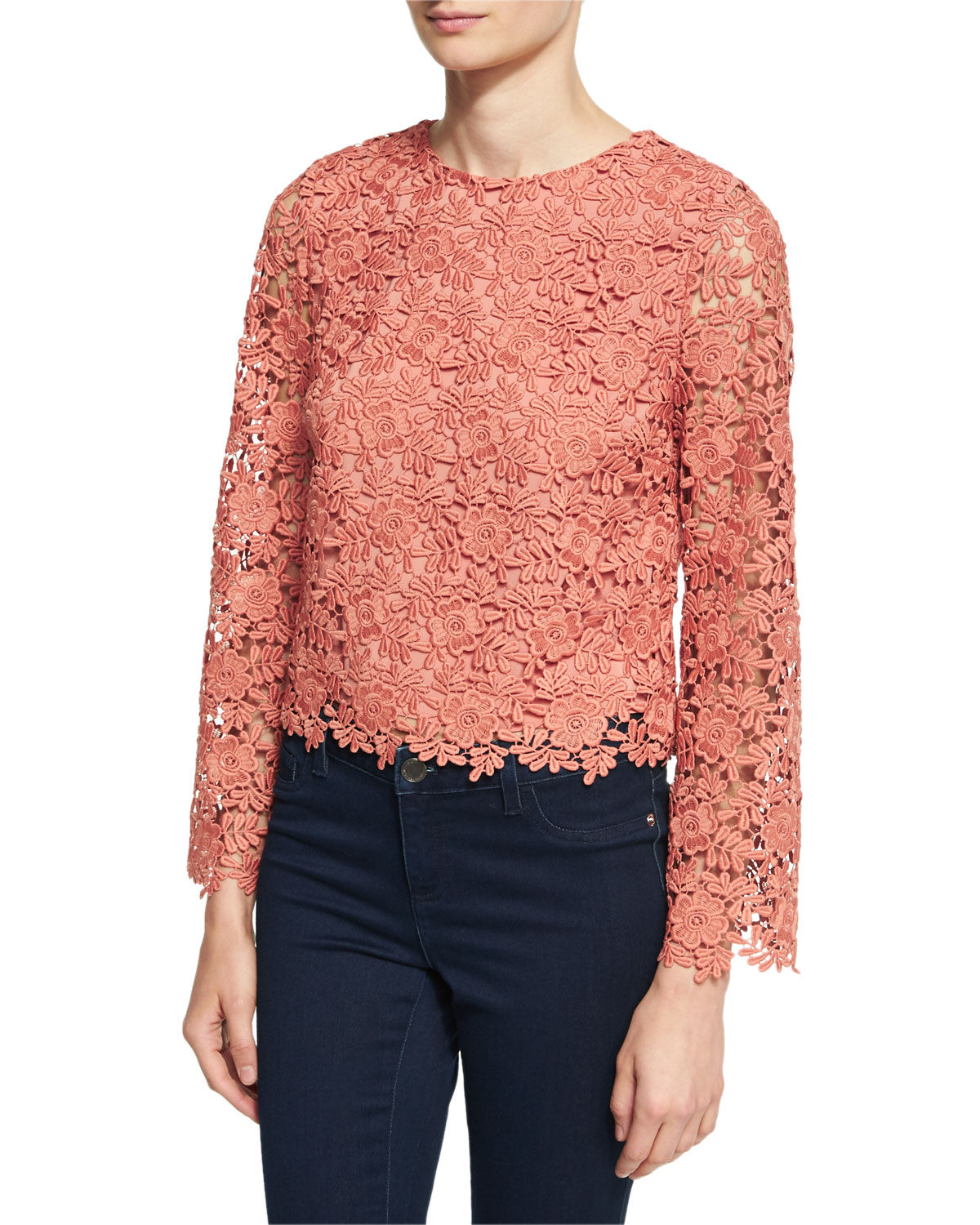 Pasha Long-Sleeve Jewel-Neck Blouse Top, Pink/Orange