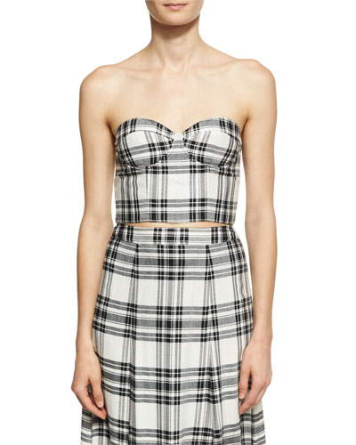 Orten Cupped Plaid Bustier Crop Top, White-Black