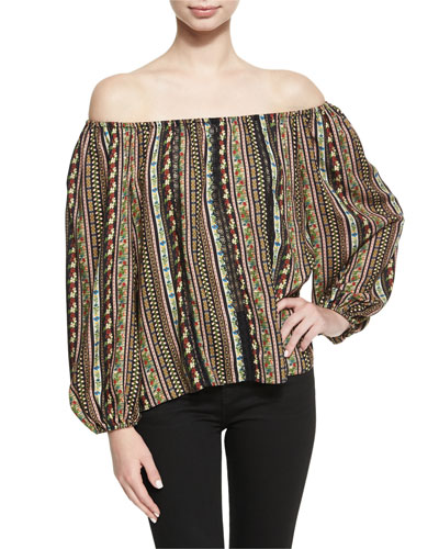 Saydee Lace Combo Peasant Blouse Top, Multi