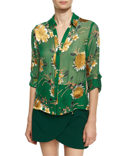 Eloise Roll-Cuff Button Front Top, Green Yellow Multi