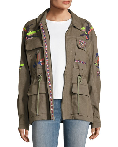 Alina Embroidered Cotton Linen Twill Jacket, Green