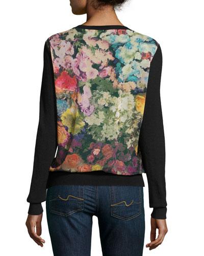 Superfine Cashmere Cardigan w/ Floral Garden Chiffon Back