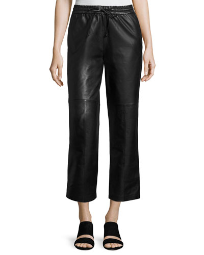 Amari Drawstring Leather Pants, Black