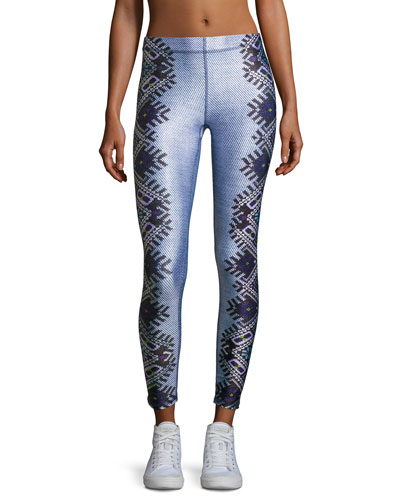Embroidered Performance Leggings, Blue