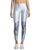 Jeweled Flower Crown Skull Performance Leggings, Light Gray