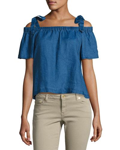 Evonie Short-Sleeve Linen Top, Blue