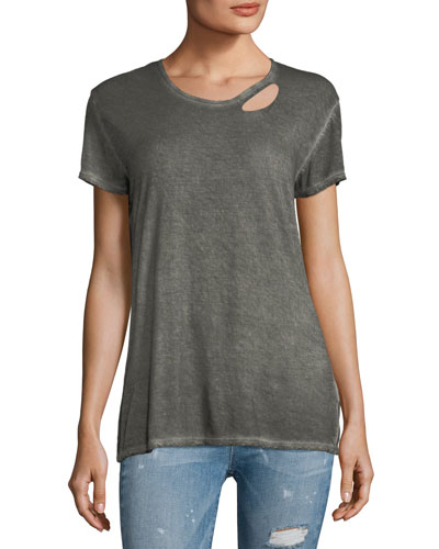 Nicola Short-Sleeve Distressed Cutout T-Shirt