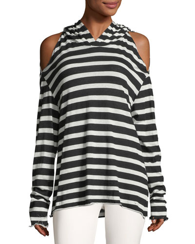 Juno Long-Sleeve Striped Hooded Tee
