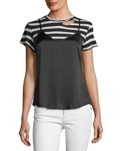 Demi Tank Striped Crewneck Tee