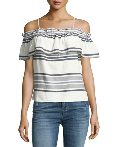Traveler Striped Off-the-Shoulder Top, White