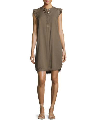 Crosshatch Henley Frayed Hem Dress, Green