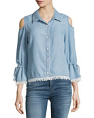 Cold-Shoulder Button-Front Chambray Shirt, Light Blue