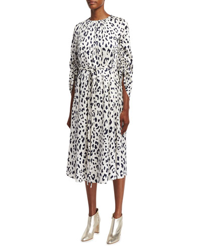 Cheetah Satin Sculpted-Sleeve Ruched Midi Dress, Ivory