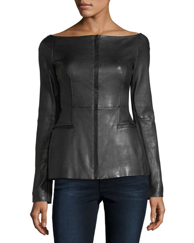 Off-the-Shoulder Long-Sleeve Fitted Leather Jacket