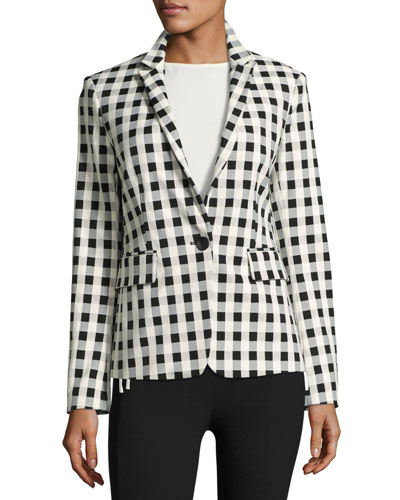 Archer Single-Button Check Blazer, Black/White