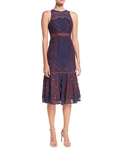 Two-Tone Lace Peplum Midi Cocktail Dress