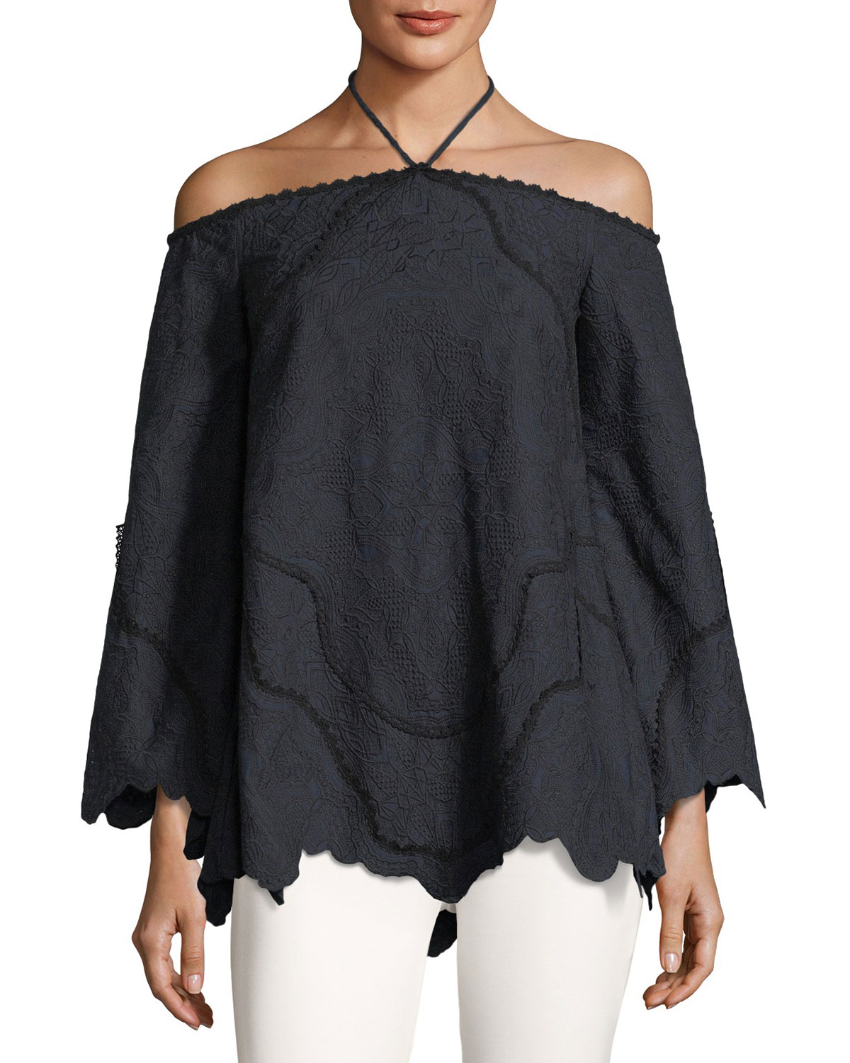 Jonathan Simkhai Embroidered Off - the - shoulder Long - sleeve Blouse