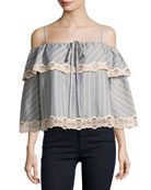 Bold Stripe Poplin Off-the-Shoulder Blouse, Gray