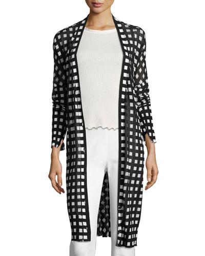 Michaela Printed Robe Cardigan, Black/White