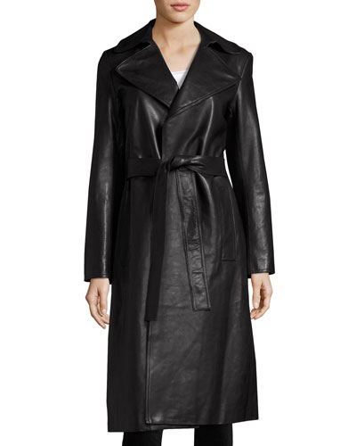 Leather Trench Coat, Black