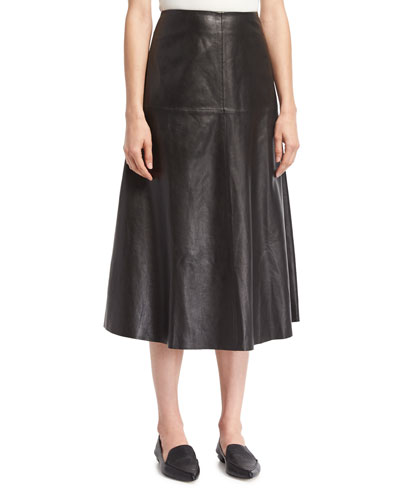 Leather A-line Midi Skirt, Black