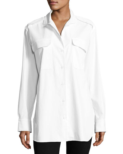 Mason Button-Front Poplin Shirt Tunic, White