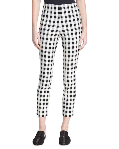 Simone High-Rise Checkered-Print Pants, Black/white
