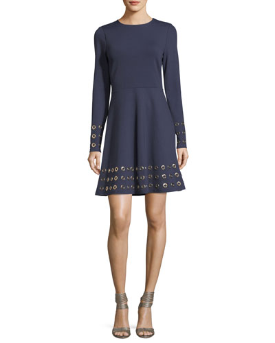 Long-Sleeve Grommet-Embellished Fit-&-Flare Dress