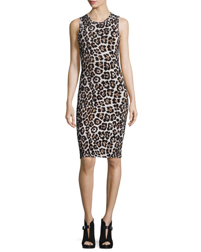 Sleeveless Animal-Print Sheath Dress