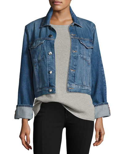 Le Jacket Reverse Overlock Cuff Denim Jacket, Blue