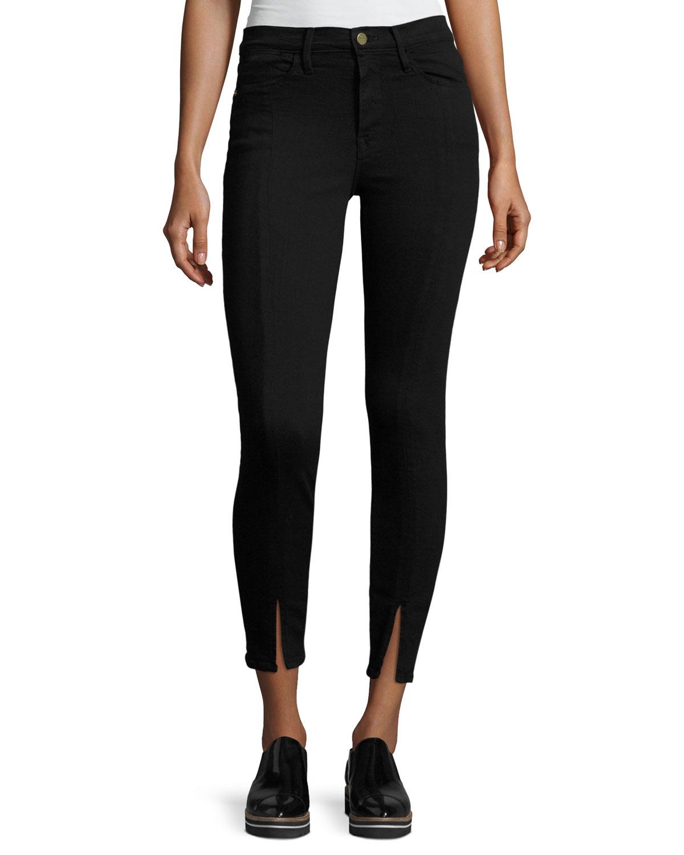 Le High Split-Front Skinny Jeans, Black
