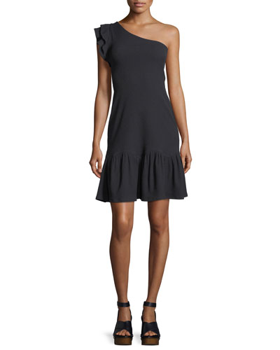 One-Shoulder Rib Jersey Dress