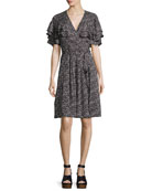 Sweet Briar Short-Sleeve Mini Dress, Black Pattern
