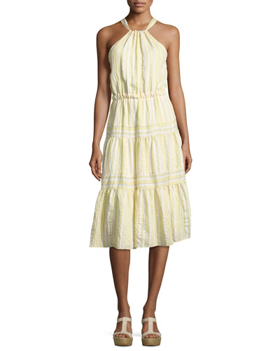 Sleeveless Halter Crinkled Midi Dress, Yellow White Multi