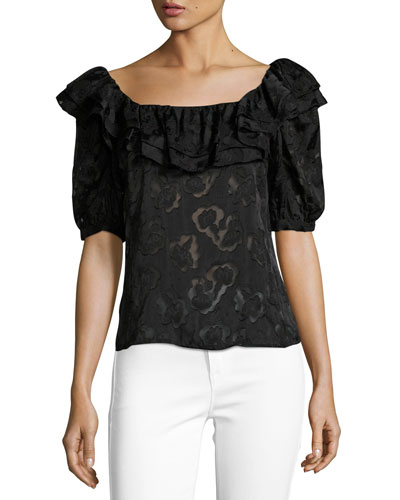 Short-Sleeve Satin Jacquard Ruffled Top, Black