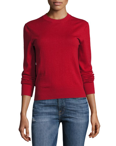 Waffle Crewneck Long-Sleeve Sweater, Red