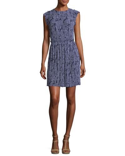 Samara Cap-Sleeve Paisley-Print Plissé Dress