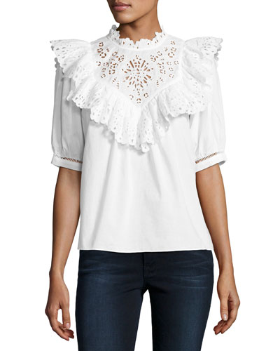 Nouveau Short-Sleeve Eyelet Top, White