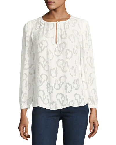Long-Sleeve Jacquard Top, White