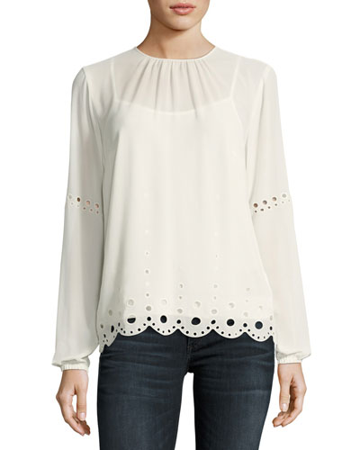Long Bishop-Sleeve Engineered Eyelet Top