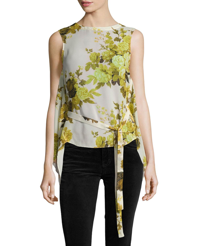 Sleeveless Floral Top W/ Back Drape, Yellow
