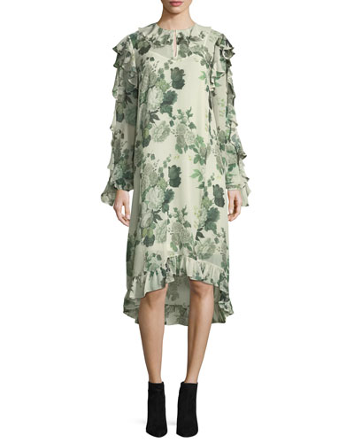 Ruffled Low-High Hem Midi Dress, Green Pattern