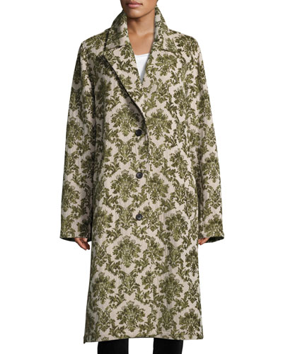 Brocade Oversized Trench Coat, Green Pattern