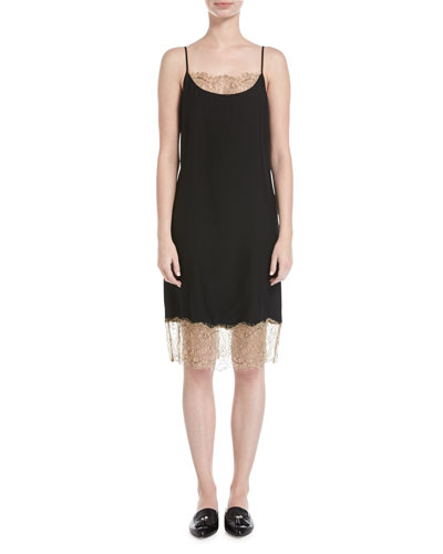 Slip Camisole Dress W/ Lace Detail, Black
