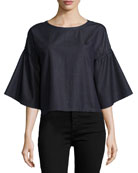 Diane Short-Sleeve Chambray Top, Blue