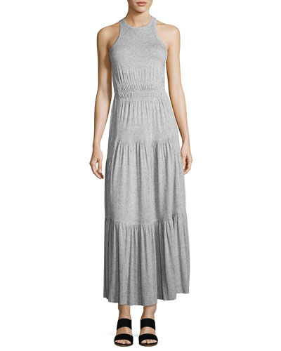 Sleeveless Racerback Jersey Tiered Maxi Dress