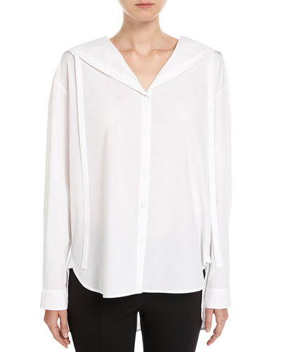 Hooded Button-Front Oxford Shirt, White