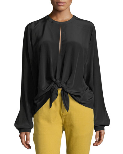 Split-Back Front-Tie Silk Top Blouse, Black
